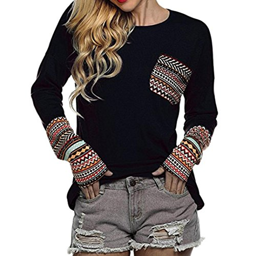 OVERDOSE Mokingtop Damen Floral Splice Printing Rundhals Pullover Bluse Tops T-Shirt (S, C-A-Black) -