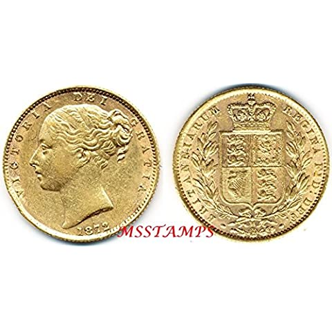 STERLINA 1872 Oro Gold Full Sovereign Vittoria Queen Victoria Shield Stemma