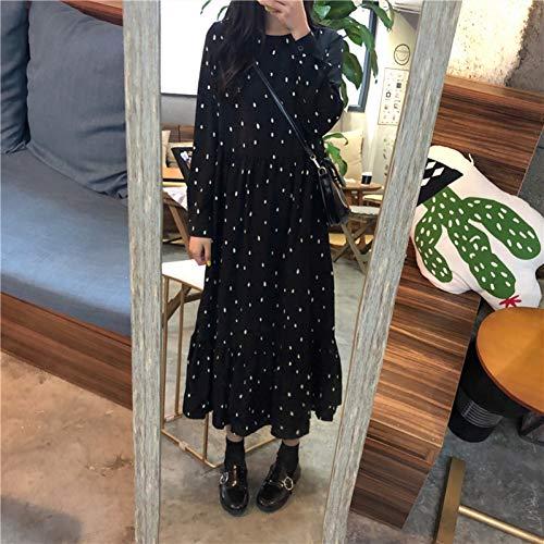 MEILINVREN Kleider,Kleid Frauen Langarm Casual Niedlich Süß Preppy Stil Girls Ladies Vintage Lose Lange Gekräuselte Dot Dress Trend