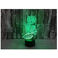 New 3D Owl Night Light Illusion Lamp 7 Color Change LED Touch USB Table Gift Kids Toys Decor Decorations Christmas Valentines Gift