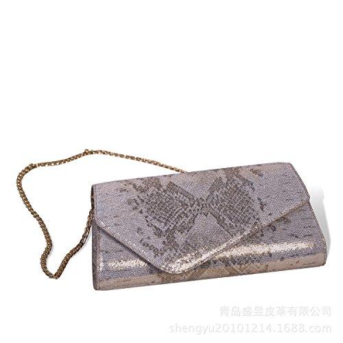 Arbeiten Sie Damen Schultertasche Leder Pailletten Hand Hält Abendessen Tasche Silver