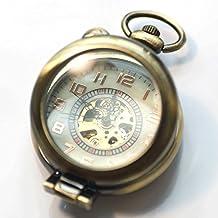 QB-Pocket watches Número grande de la lupa Flip transparente reloj de bolsillo mecánico automático retro hombres y mujeres viejos gráficos de pared de bronce