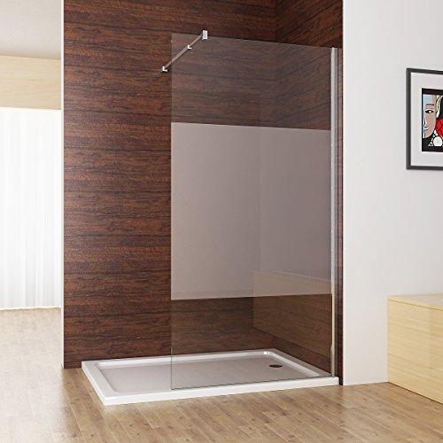 Duschabtrennung walk in Duschwand Seitenwand Dusche 10mm NANO teilsatiniert Glas Duschtrennwand 100 x 200 cm