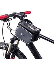 Denret3rgu Ciclismo Bicicleta Bicicleta Tubo Frontal Pantalla táctil 6.0 Pulgadas Bolsa para teléfono móvil - Negro