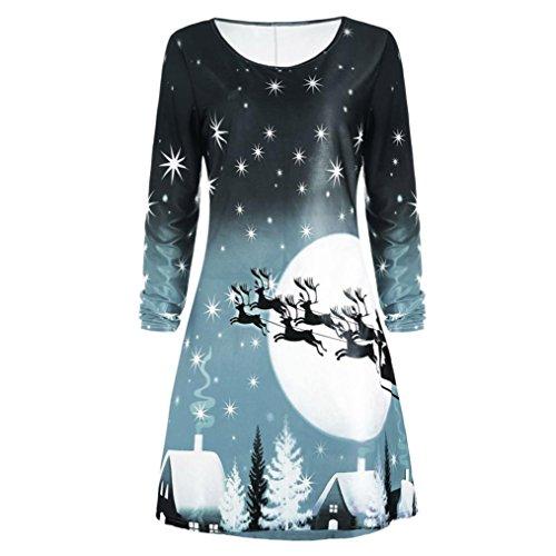 Weihnachten Kleider, GJKK Damen Langarm Weihnachten Santa Elch Gedruckt Festlich Partykleid Weihnachten Langarm Kleid Damen O-Ausschnitt Minikleid Abend Knielangen Kleid (Grau, L) (Chiffon Knielangen Kleid)