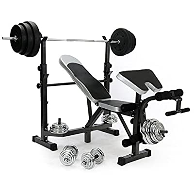 Blackpoolal All In One Flat Fitness Weight Bench Multi Gym Dumbell Workout Abs Leg Bar Preacher Curl Exercise Equipment from Blackpoolal