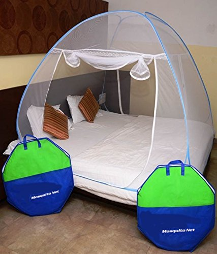 Styleys Foldable Mosquito Net Double Bed with Soft Mesh and 2 Side Zipper Opening Doors Blue (200x200cm)