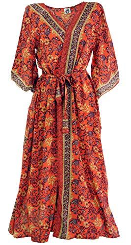 Guru-Shop Kimonokleid, Boho Kimono, Kimonomantel, Damen, Rot, Synthetisch, Size:38, Lange & Midi-Kleider Alternative Bekleidung -