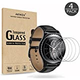 [4 Unidades] Protector de Pantalla para Gear S2 ( 1.2 Inch ) Akwox [9H Dureza] Cristal Vidrio Templado para Samsung Gear S2 Classic Smart Watch Cristal Templado