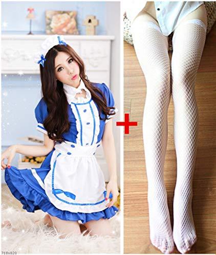 Französisch Kostüm Phantasien - FMN-SEXY, Kostüme Frauen Sexy Adult Servant Französisch Maid Kostüme Phantasie Halloween Cosplay Kleid Kellnerin Outfit (Color : Blue with Stock, Size : M)