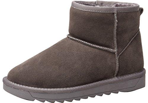 ELEHOT Donna Eleabstract senza tacco 3CM Leather Stivali, grigio, (Grigio Suede Piattaforma)
