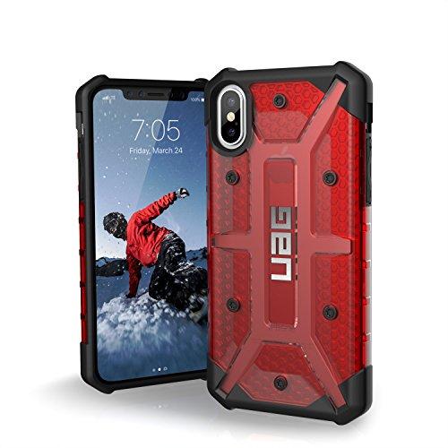 Urban Armor Gear Plasma Schutzhülle Nach US-Militärstandard für Apple iPhone Xs / X - Transparent (Rot) [Qi kompatibel, Verstärkte Ecken, Sturzfest, Antistatisch, Vergrößerte Tasten] - IPHX-L-MG
