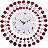 Smera Designer Molded Wrought Iron Crystal Studded Analog Wall Clock(36 Cm X 5 Cm X 36 Cm, Red & White)