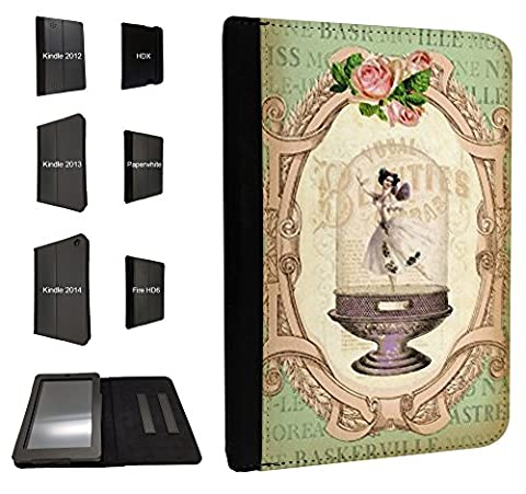 532 - Vintage Shabby Chic Victorian Floral Roses Vase Ballet dancer Design Case Fashion Trend For All Amazon Kindle Fire Hd 7'' 2012 / HD7'' 2013 / HD7'' 2014 / Kindle Fire HDX 7'' 2014 / Kindle Paperwhite 6'' / Kindle Fire HD 6'' Tpu Leather full Case Flip Book Style Defender Cover - Choose your Kindle model from the drop box under