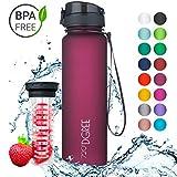 720°DGREE Trinkflasche 'uberBottle' - 1 Liter, 1000ml, Pflaume | Neuartige Tritan Wasser-Flasche | Water Bottle BPA Frei | Ideale Sportflasche für Kinder, Fitness, Fahrrad, Sport, Fussball