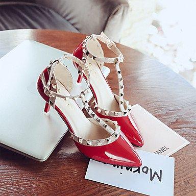 zhENfu Donna Sandali Comfort estivo Pu Outdoor Stiletto Heel Rosso Bianco Nero Red