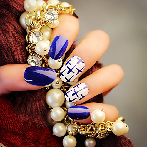 Künstliche Fingernägel False Nail Tips Fake Nails, French Style Weiß und Blau - vivi24 Nail Sticker Tattoo - FashionLife