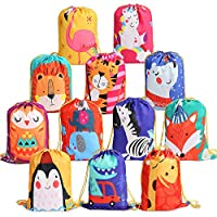 BeebeeRun Animals Kids Party Bags Reusable Drawstring Bags 12 PCS,Party Supplies Bags for Kids Girls Boys,Candy Goodie Bags Birthday