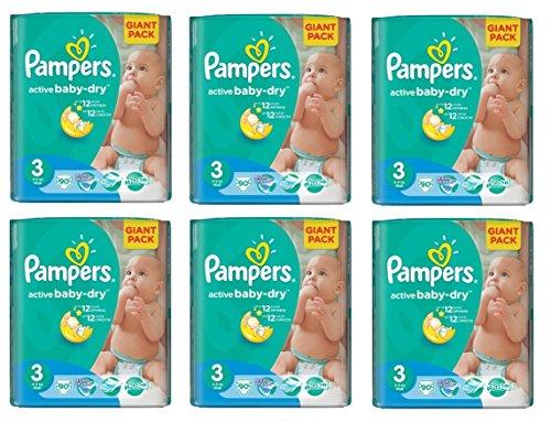 Preisvergleich Produktbild Pampers Windeln Baby Dry Midi 3 Gr. 4-9 Kg (Pampers Active Baby Gr. 3 (6 x 90 Windeln))
