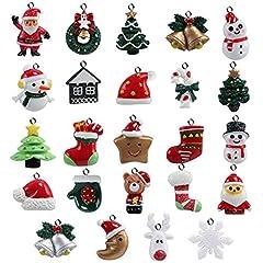 Idea Regalo - Naler 24pcs Christmas Fascino del Pendente, Fascino della Resina del Pupazzo di Neve dell'alce del Babbo Natale per l'ornamento della Decorazione di Natale DIY Craft