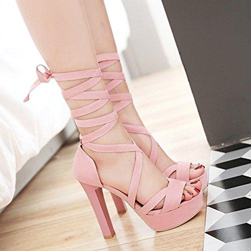 COOLCEPT Femmes Mode Lacets Sandales Peep Toe Plateforme Bloc Chaussures Rose