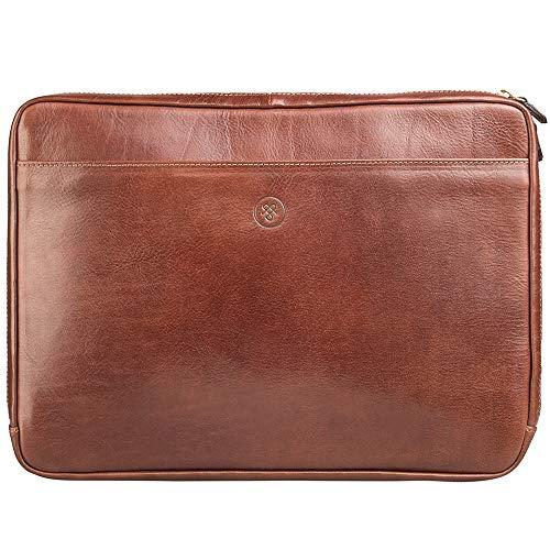Brown Italienischen Leder Handgefertigt (Maxwell-Scott Handgefertigte Leder 14'' Laptophülle Bovino in Cognac Brown)