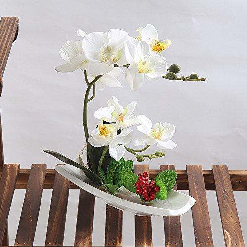 Alicemall Alicemall Flores Artificiales de Orquídeas con Maceta Blanco Bonsái de Phalaenopsis para decoración Hogar de Fiestas