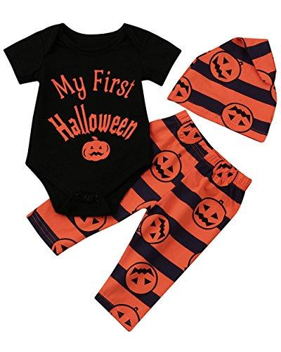 Weant Halloween Kostüm Baby Jungen Mädchen Neugeborenen Kürbis Spielanzug Overall Hose Outfit mit Mütze (12-18 monate, schwarz) (Hinweis Charaktere Kostüme)