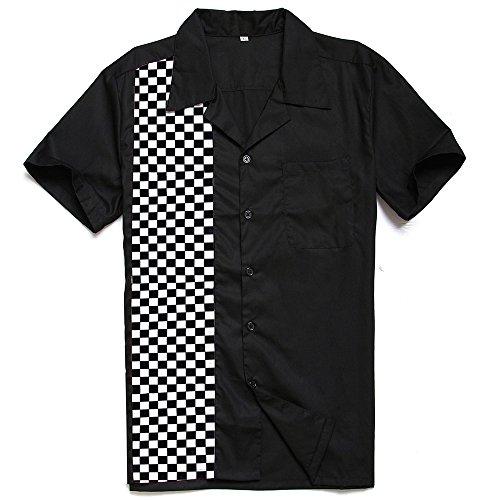 Candow Look Herren Rockabilly Bowling Shirts Schwarz Wei? Plaid Hemd Contrast Kariert