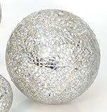 Dekokugel *Mosaiko* Deko Kugel Gartenkugel Kugel Mosaik Glas - Silber - D12,5cm