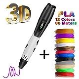 Pluma 3D Fede, Lápiz 3D con[12 Rollo Filamento de PLA ]en 12 Colores de 1,75mm Cada Uno de 3m y Un...