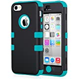 iPhone 5c Case, ULAK iPhone 5c Case Hybrid High Impact Soft Silicone and Hard PC Case Cover for Apple iPhone 5C (Black + Blue)