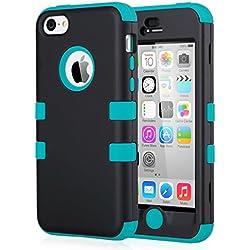 ULAK Coque iPhone 5c, iPhone 5c Case Housse de Protection Anti-Choc Matériaux Hybrides en Silicone Souple et PC Dur Coque pour Apple iPhone 5c (Noir+Bleu)