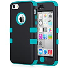ULAK ULAK379689 - Funda híbrido de silicona para Apple iPhone 5c, color negro y azul