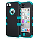 ULAK iPhone 5c Hülle, iPhone 5c Case 3 Layer Hybrid Combo Innere Weiche Silikon Hart Plastik Anti-stoß Schutzhülle Tasche Case Cover für Apple iPhone 5c (Schwarz + Blau)