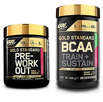 Optimum Nutrition Gold Standard Pre-Workout Watermelon 330g with 266g Strawberry Kiwi BCAA Powder