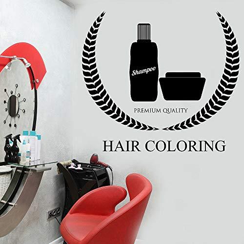 guijiumai Haarfärbung Frau Vinyl Aufkleber Wandaufkleber Schönheitssalon Design Wandtattoos Friseur Shampoo Aufkleber Wandbild Wanddekor rot 64x57 cm