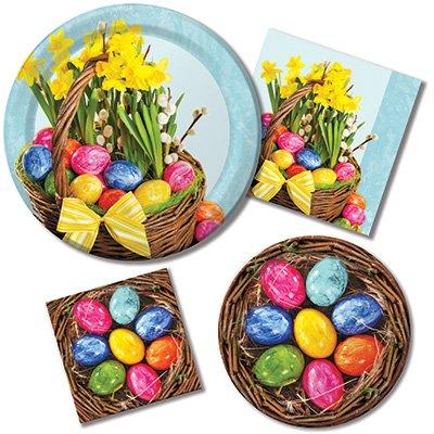 Happy Easter Schöner Korb-Teller und Servietten-8Gäste Party Bundle-4Elemente: Dinner & Dessertteller, Luncheon & Getränke Servietten Satin-dessert
