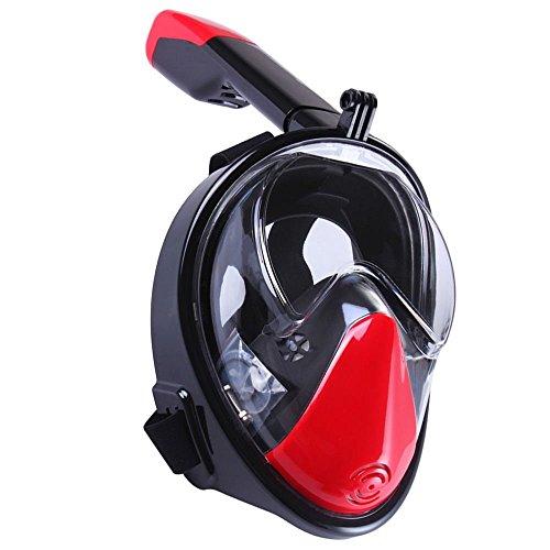 Full Face Schnorchel Maske 180 ° Ansicht Panoramische Tauchmasken mit Gopro Kompatible Schnorchel Maske Easy-Atem Schnorchel Tauchausrüstung Anti-Fog Anti-Leck Schnorcheln Design (Tauchausrüstung Maske, Schnorchel)