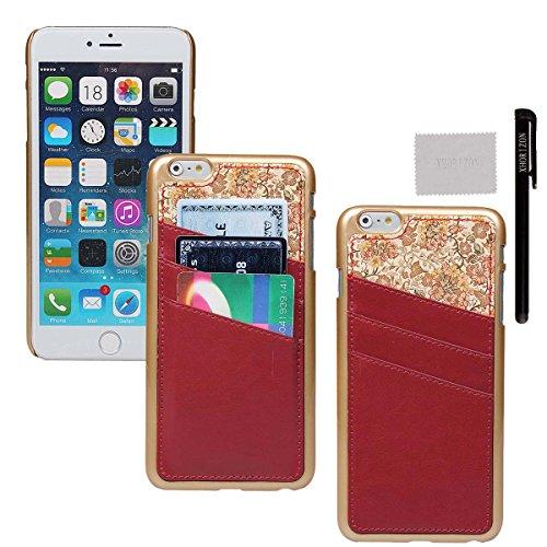 xhorizon® Für iPhone 6 Plus Case [ 5,5-Inch ] [ Kartenhalter ] Luxus Blumen Leder Harte rückseitige Abdeckung Verschluss auf Hülle mit einem Stylus / Reinigungstuch Rot