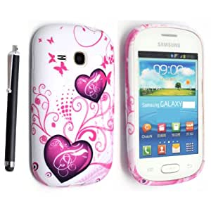 GSDSTYLEYOURMOBILE{TM} SAMSUNG GALAXY FAME S6810 SILICONE GEL SKIN PROTECTION CASE COVER + STYLUS (Two Red Hearts)