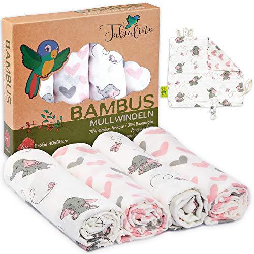 Tabalino  Traumhaft Weiche Bambus Mullwindeln Spucktücher für dein Baby  80x80cm  4er-Pack mit Schmusetuch  Mulltücher Mädchen  rosa pink  Stoffwindeln aus Musselin  Moltontücher Baumwolle