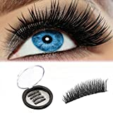 ROWNYEON Magnetic Eyelashes Dual Magnetic False Eyelashes - Ultra Thin 3D Fiber Reusable Best Fake Lashes Extension for Natural, Perfect for Round Eyes & Deep Set Eyes (2 Pairs,8Pieces)