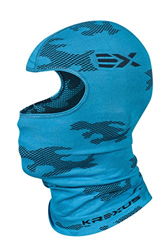 KREXUS CAMO Sturmhaube Skihaube Balaclava Sturmmaske (Blau, M) (Herren Blau Camo)