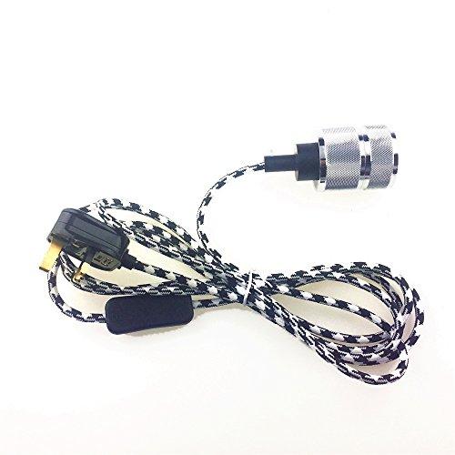 reachyea 3m (25Ft) von 2Core Schwarz Weiß Kabel mit An/Aus Schalter und E27Lampenfassung, Snowy white, E27 60.00 wattsW 240.00 voltsV (Plug-in Hängenden Laterne)