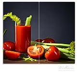 Wallario Herdabdeckplatte/Spritzschutz aus Glas, 2-teilig, 60x52cm, für Ceran- und Induktionsherde, Frischer Tomatensaft mit Sellerie