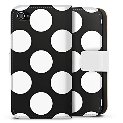 Apple iPhone X Silikon Hülle Case Schutzhülle Dots 50er Punkte Sideflip Tasche weiß