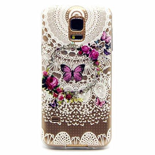 Galaxy S5 Mini Hülle,Samsung Galaxy S5 Mini Schutzhülle, MUTOUREN Crystal Kirstall Handyhülle Case Cover TPU Silikontasche Transparent Ultra dünne Gel Anti-scratch hinten Tasche Etui Bumper Weiß - Kranz und Schmetterling lila