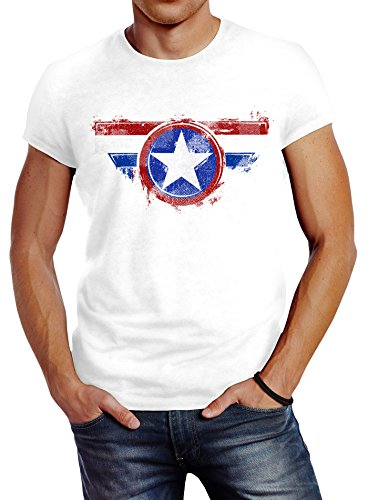 Neverless Herren T-Shirt Amerika Flagge Stern Roger Captain Slim Fit Weiß XL - Bomber-t-shirt Aus Baumwolle