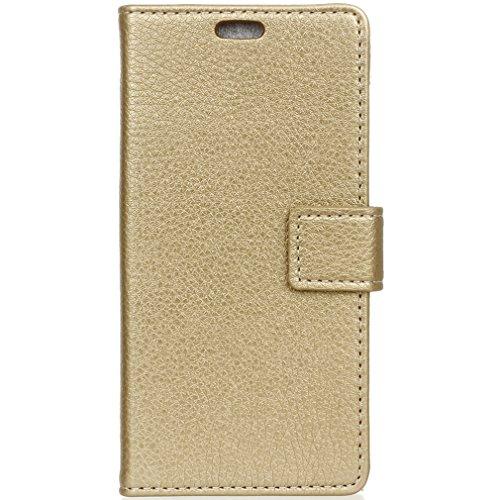 LMAZWUFULM Hülle für Alcatel Idol 5S PU Leder Magnet Brieftasche Lederhülle Handytasche Litchi Muster Stent-Funktion Ledertasche Flip Cover für Alcatel Idol 5S Gold
